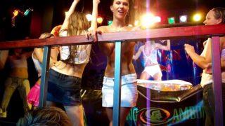 "Wet T-shirt competition at club ""Atlantis"". Nipple @ 1:57"